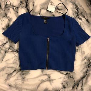 Royal Blue Zip Up Crop Top